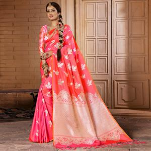 Staring Pink Colored Festive Wear Woven Silk Saree