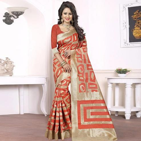 Adorable Red - Beige Colored Festive Wear kanjivaram silk Saree