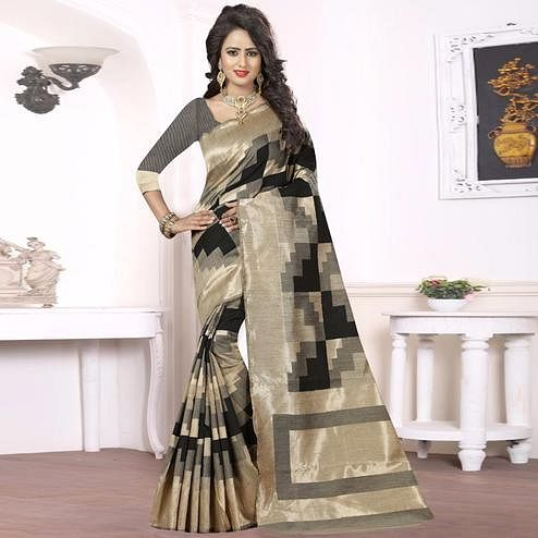 Attractive Black - Beige Colored Festive Wear kanjivaram silk Saree