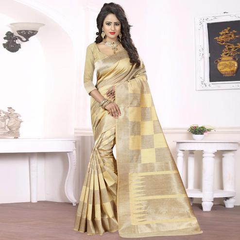 Beautiful Light Yellow - Beige Colored Festive Wear kanjivaram silk Saree