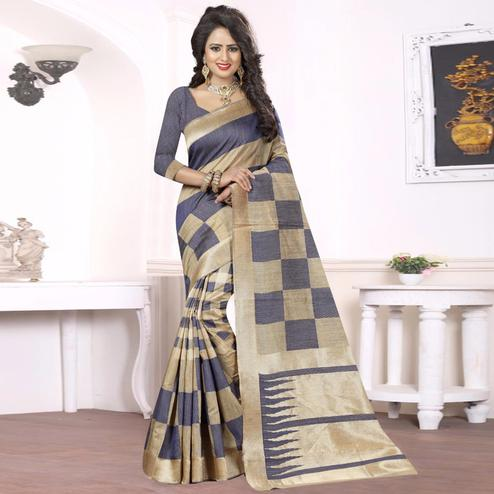 Gorgeous Grey - Beige Colored Festive Wear kanjivaram silk Saree