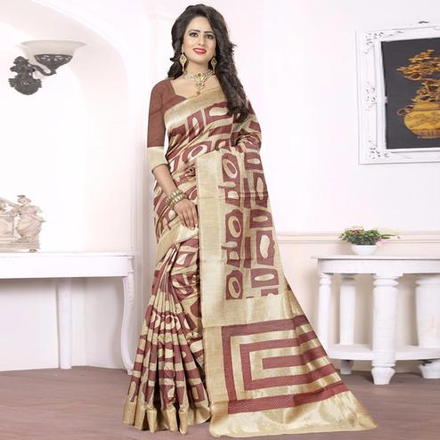 Glorious Brown - Beige Colored Festive Wear kanjivaram silk Saree