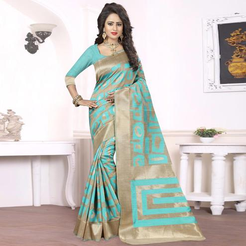 Graceful Aqua Blue - Beige Colored Festive Wear kanjivaram silk Saree