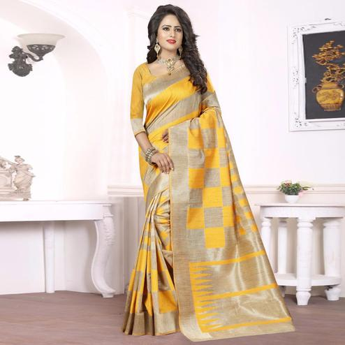 Charming Yellow - Beige Colored Festive Wear kanjivaram silk Saree