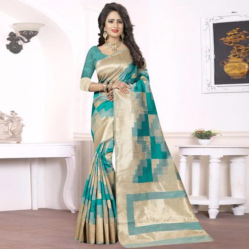 Ravishing Turquoise Green - Beige Colored Festive Wear kanjivaram silk Saree