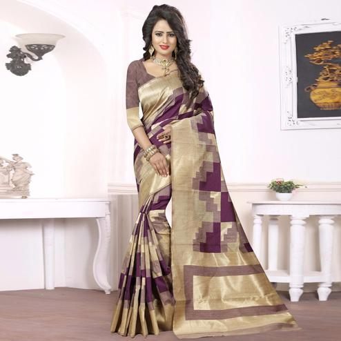 Delightful Dark Purple - Beige Colored Festive Wear kanjivaram silk Saree