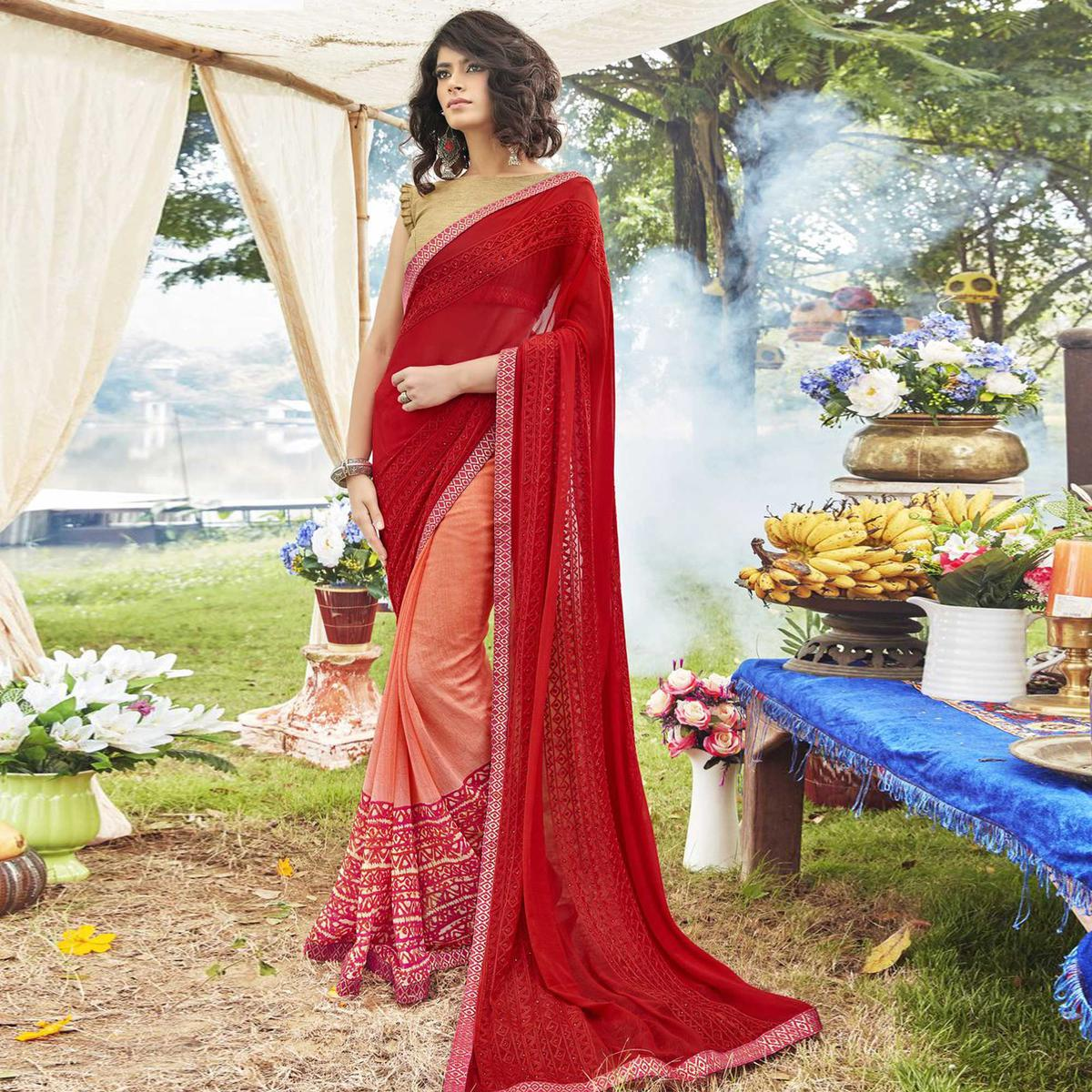 Eye-Catching Orange-Red Colored Partywear Embroidered Faux Georgette Half-Half Saree