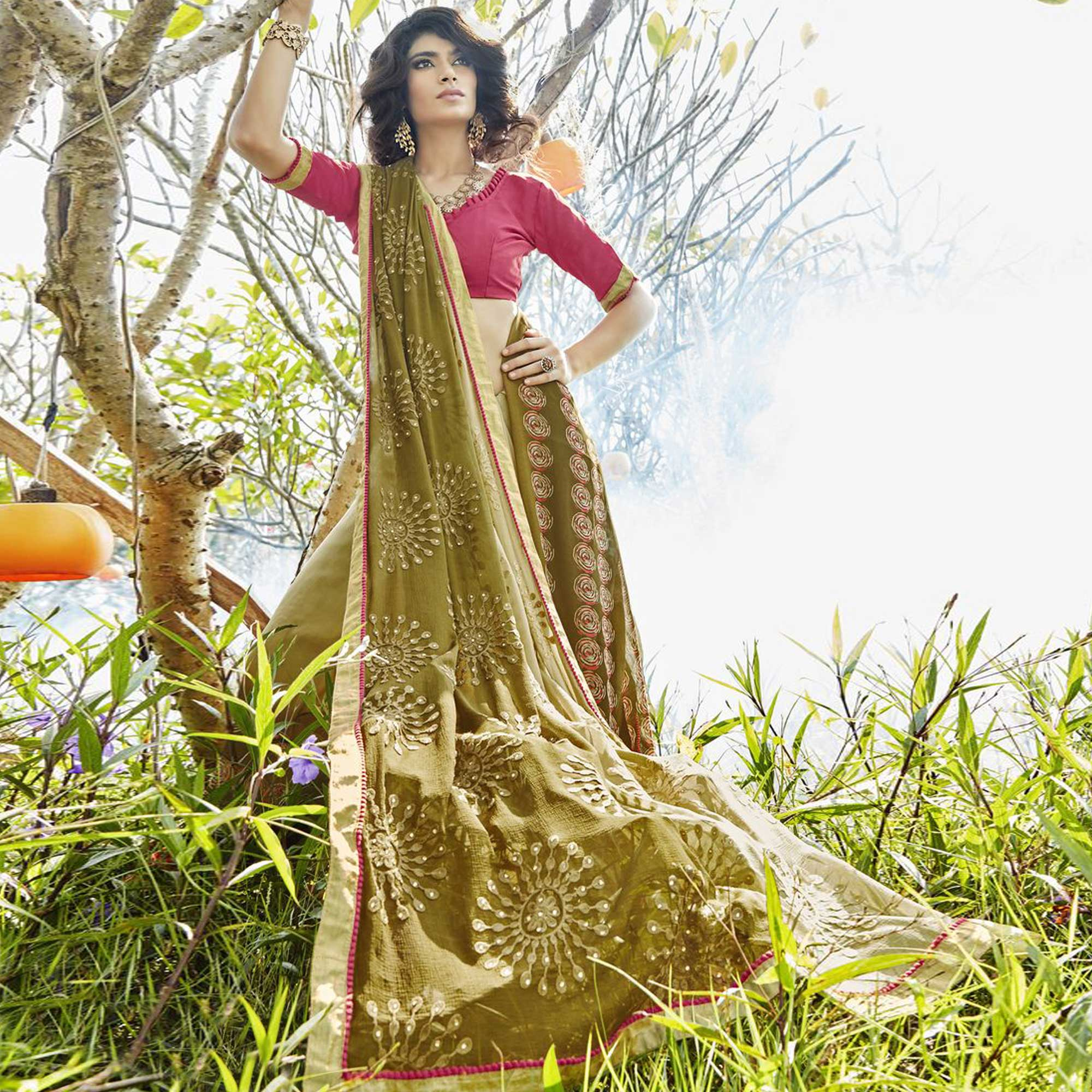 Gorgeous Olive Green Colored Partywear Embroidered Faux Georgette Saree