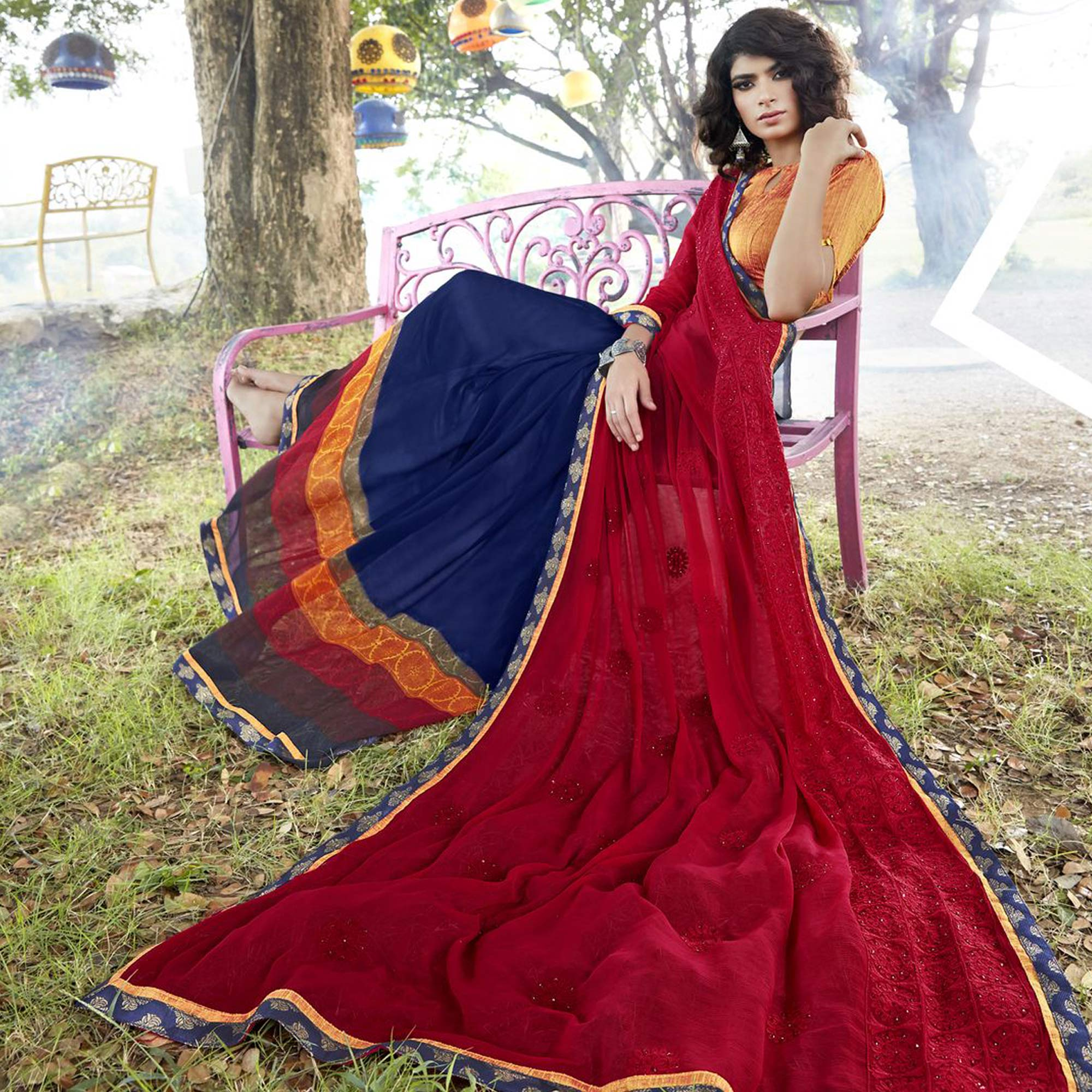 Desiring Blue-Red Colored Partywear Embroidered Faux Georgette Half-Half Saree