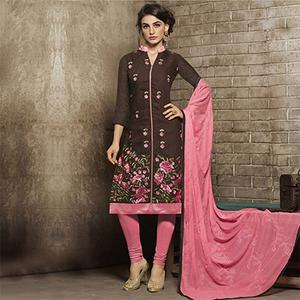 Brown - Pink Floral Embroidered Work Semi Stitched Suit