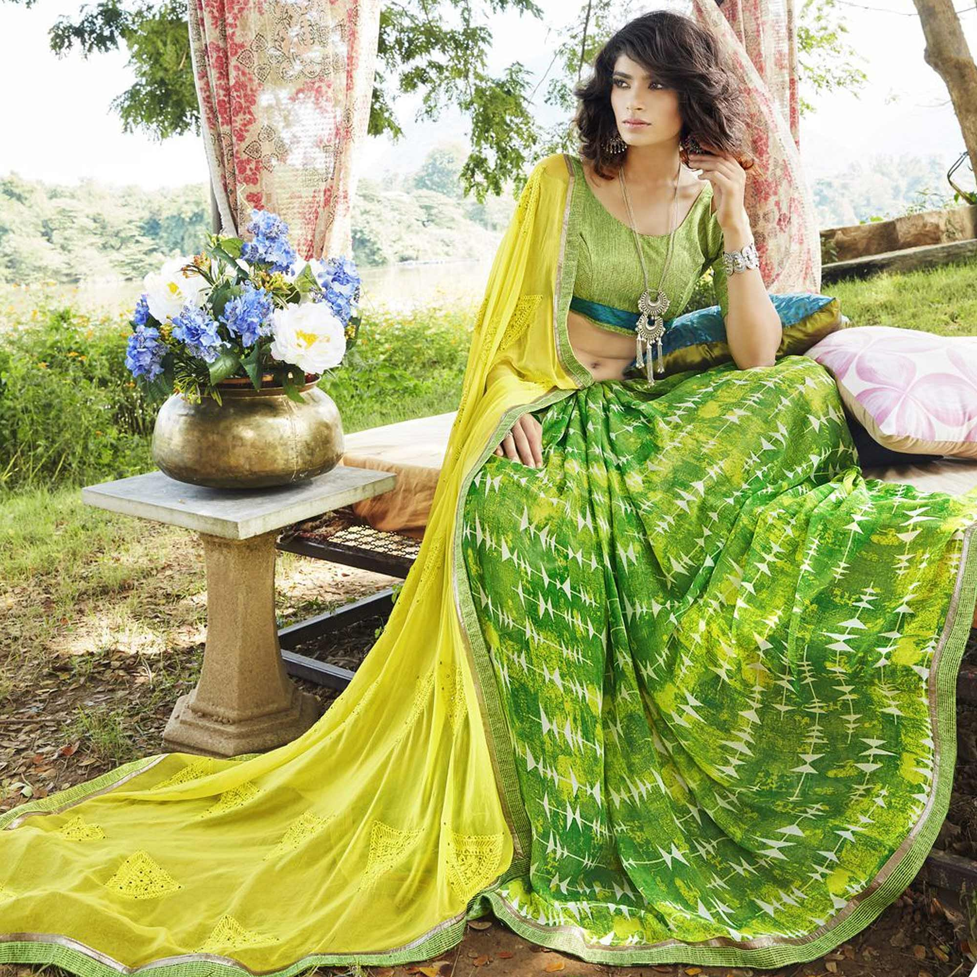 Demanding Green-Lemon Green Colored Partywear Embroidered Faux Georgette Half-Half Saree