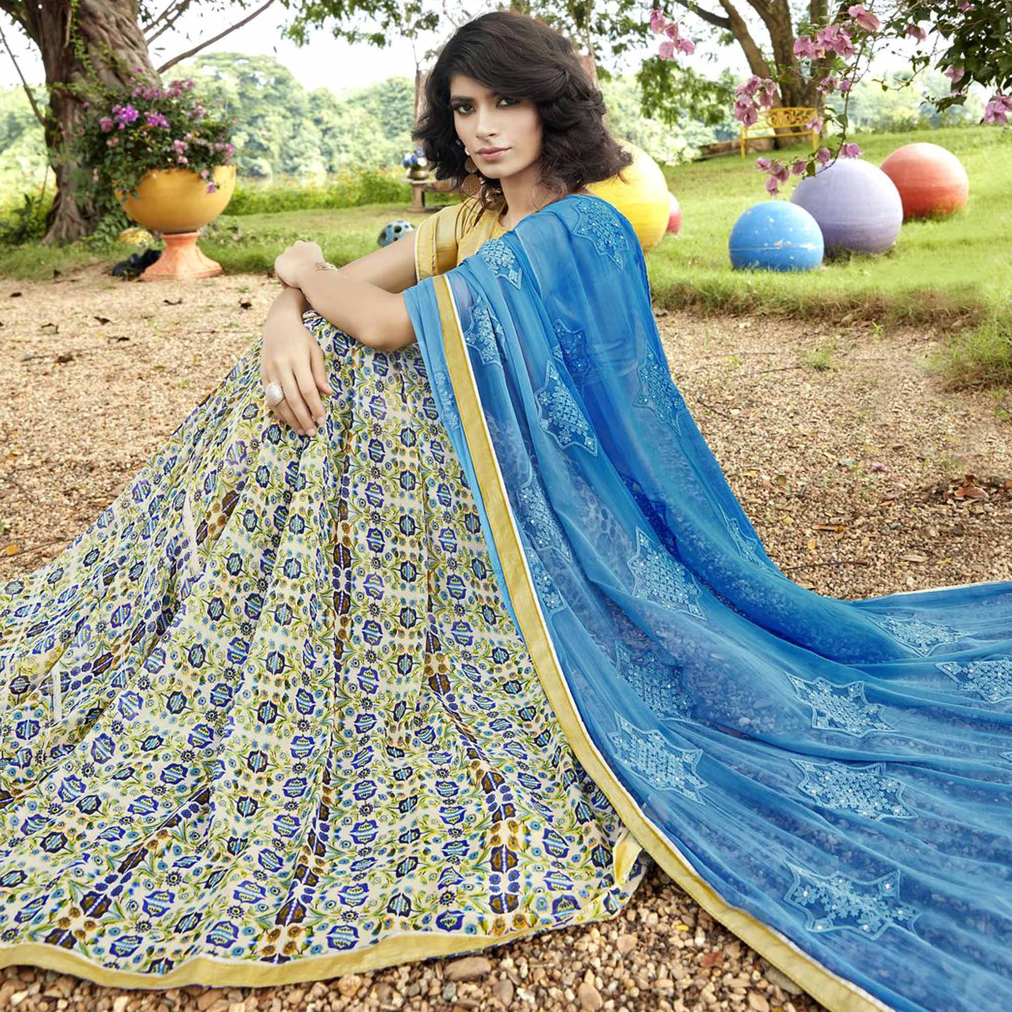 Classy Multi-Sky Blue Colored Partywear Embroidered Faux Georgette Half-Half Saree