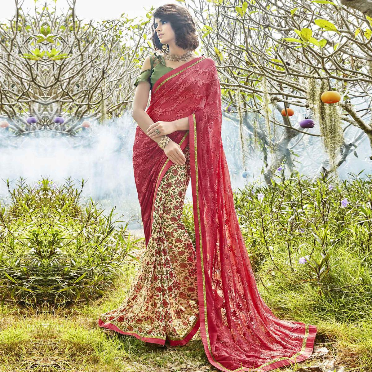 Appealing Cream-Red Colored Partywear Embroidered Faux Georgette Half-Half Saree