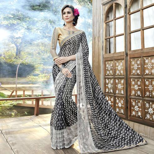 Attractive Black Colored Partywear Printed Faux Georgette Saree