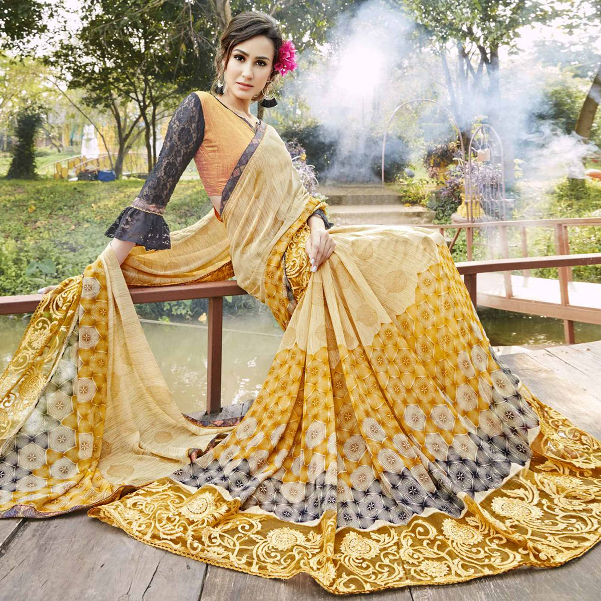 Amazing Yellow Colored Partywear Printed Faux Georgette Saree