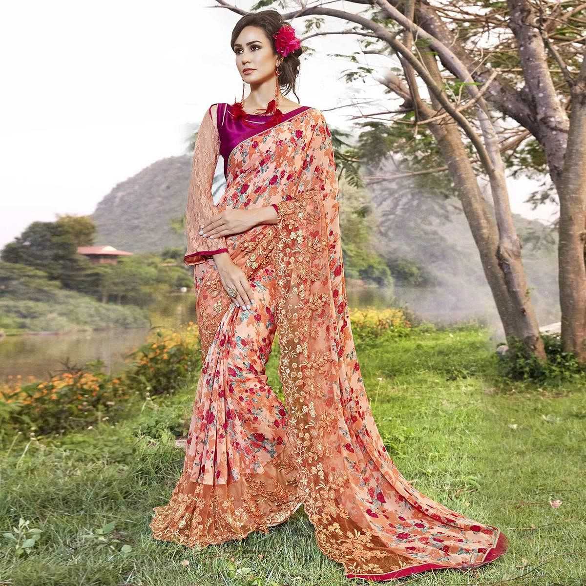 Marvellous Peach Colored Partywear Printed Faux Georgette Saree