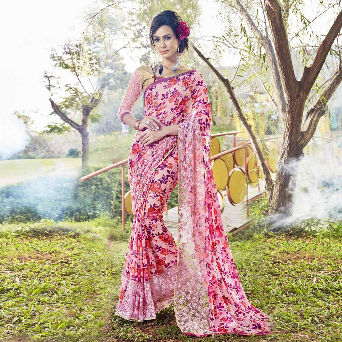 Charming Pink Colored Partywear Printed Faux Georgette Saree