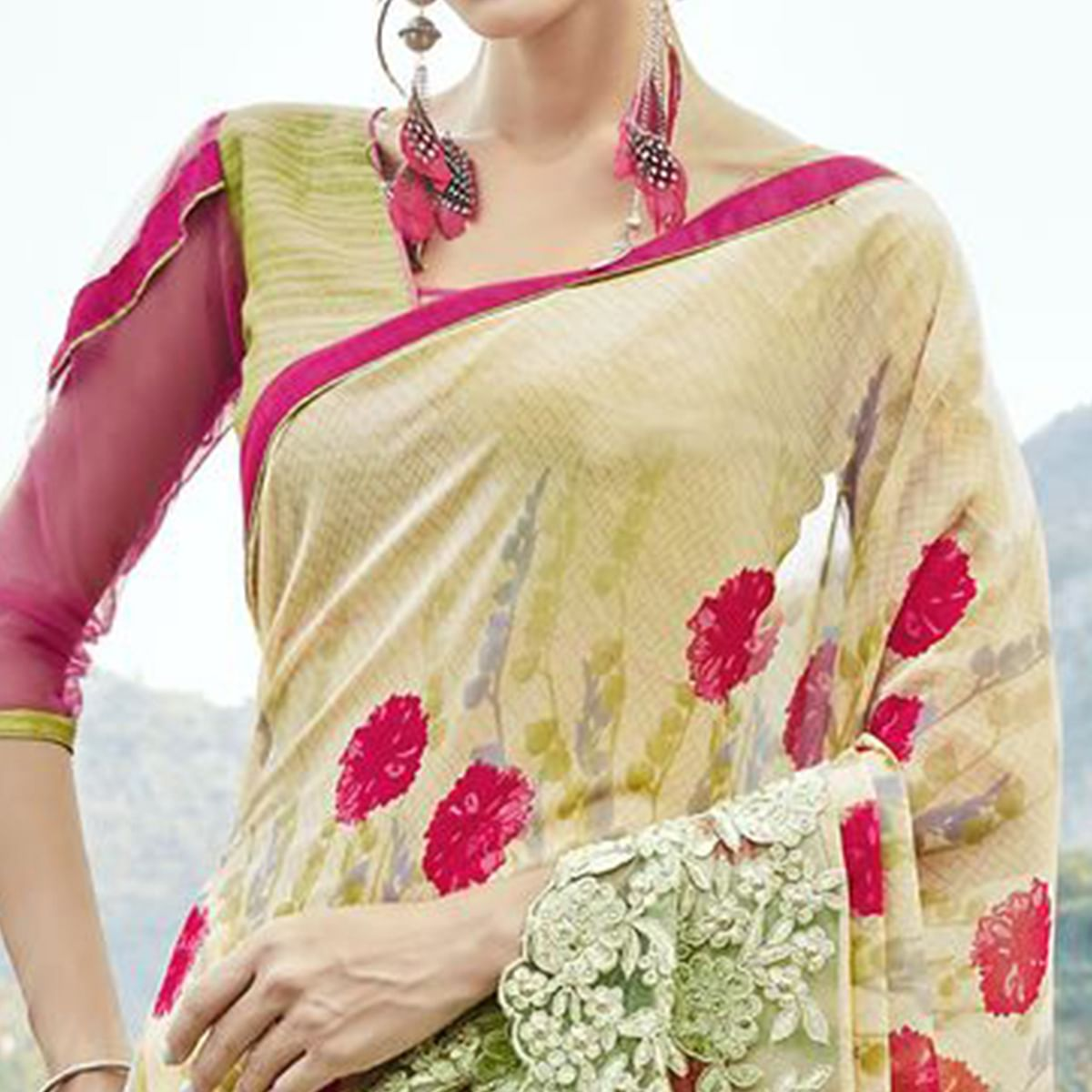 Exceptional Light Lemon Yellow Colored Partywear Printed Faux Georgette Saree
