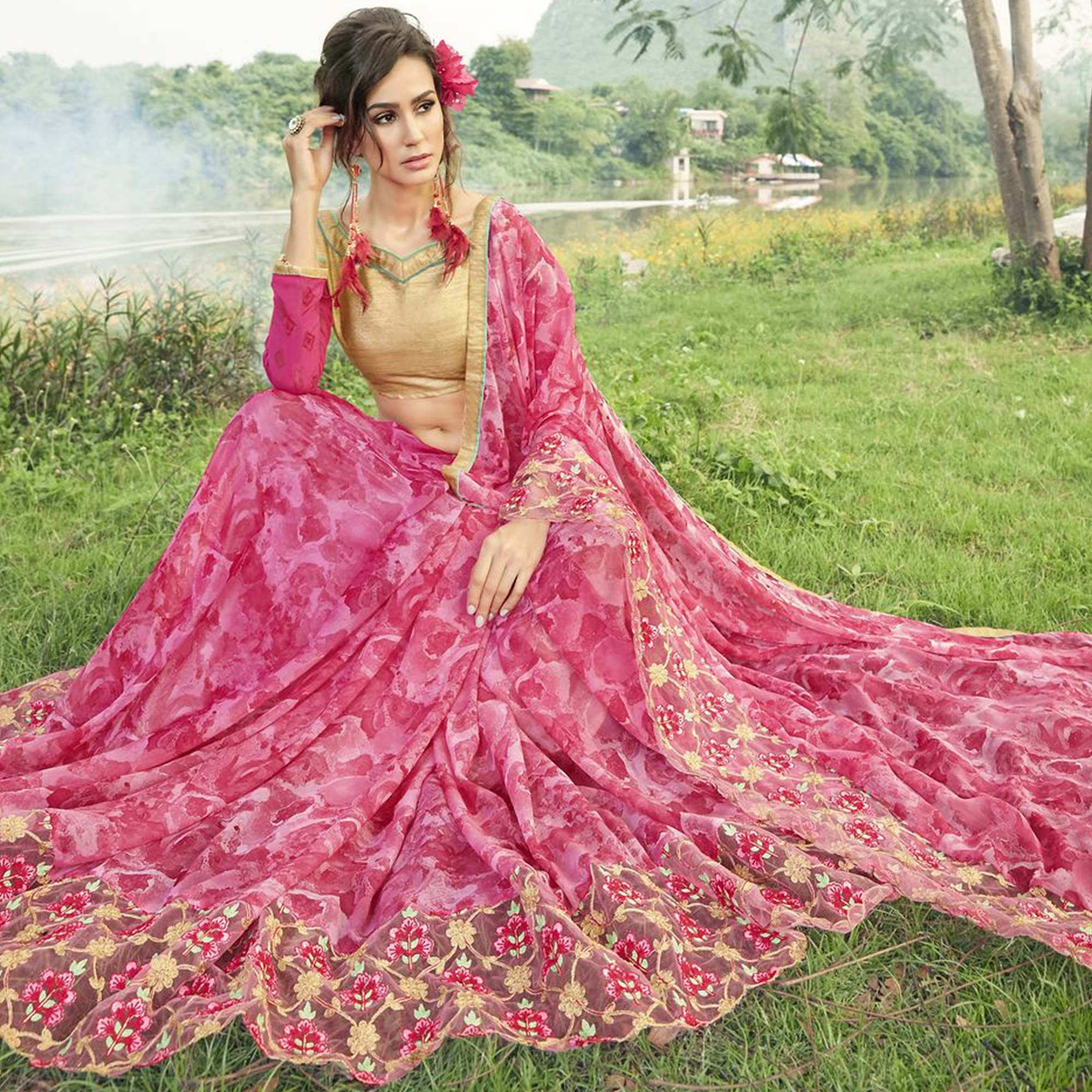 Pretty Pink Colored Partywear Printed Faux Georgette Saree