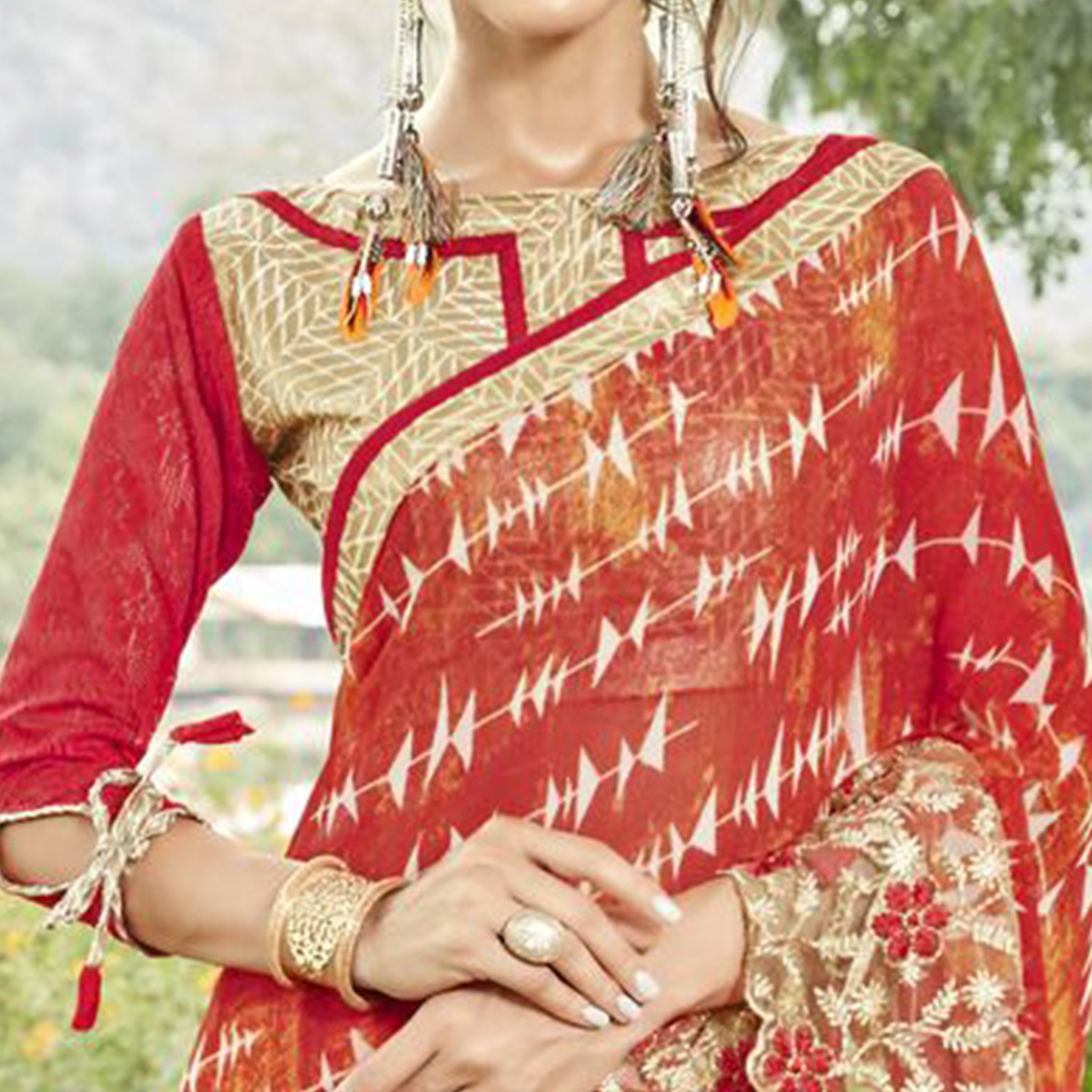Desiring Red Colored Partywear Printed Faux Georgette Saree