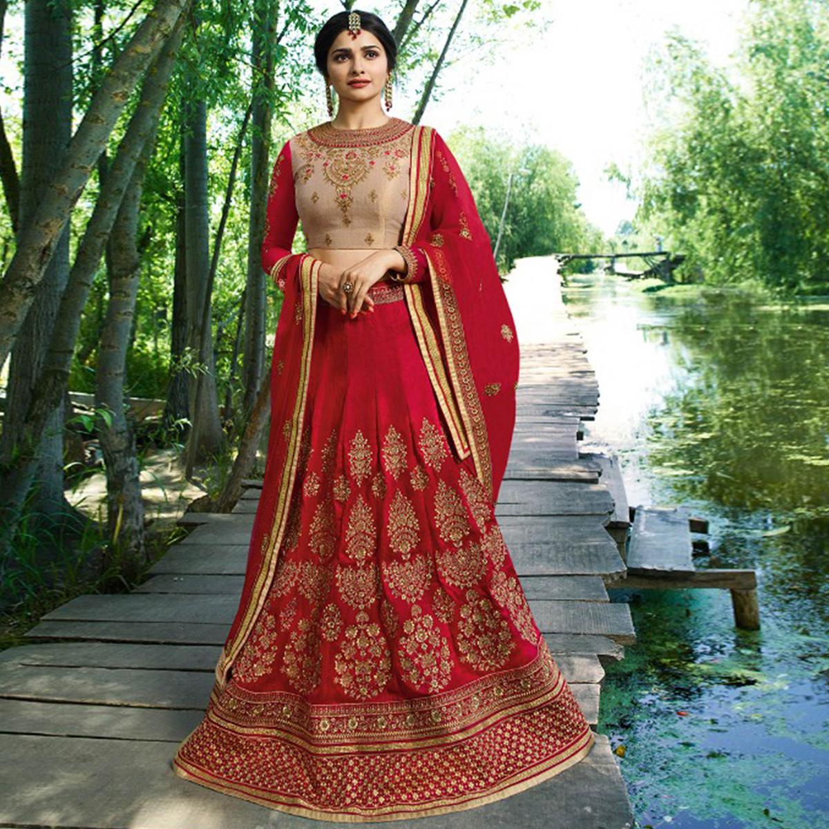 Captivating Deep Pink Colored Wedding Wear Embroidered Silk Lehenga