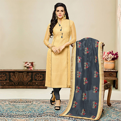 Lovely Beige - Grey Embroidered Chanderi Salwar Suit