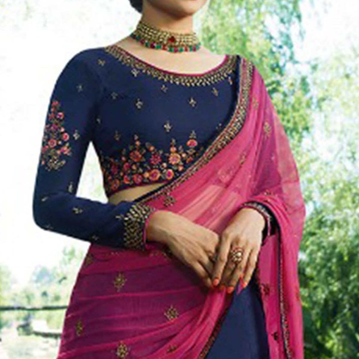 Flirty Navy Blue Colored Wedding Wear Embroidered Silk Lehenga