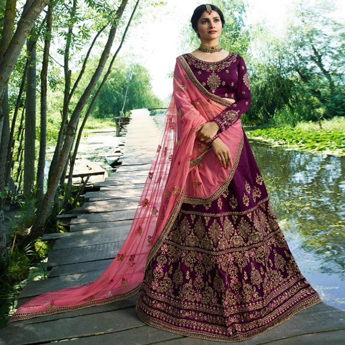 Glowing Purple Colored Wedding Wear Embroidered Silk Lehenga