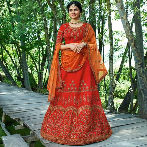 Hypnotic Deep Red Colored Wedding Wear Embroidered Silk Lehenga
