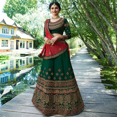 Trendy Bottle Green Colored Wedding Wear Embroidered Silk Lehenga