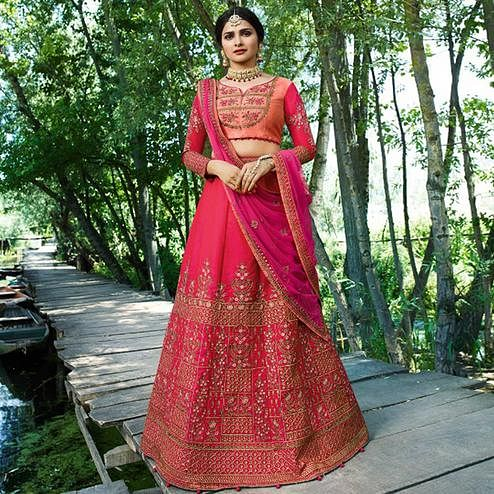Capricious Dark Pink Colored Wedding Wear Embroidered Silk Lehenga