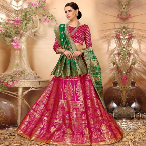 Elegant Pink Colored Festive Wear Woven Banarasi Silk Jacquard Lehenga Choli