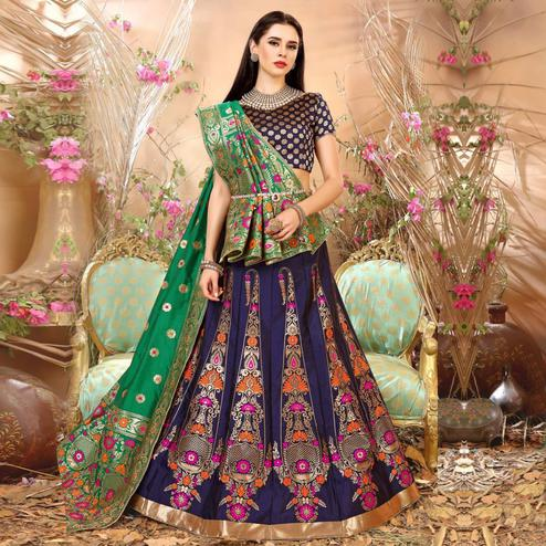 Mesmerising Navy Blue Colored Festive Wear Woven Banarasi Silk Jacquard Lehenga Choli