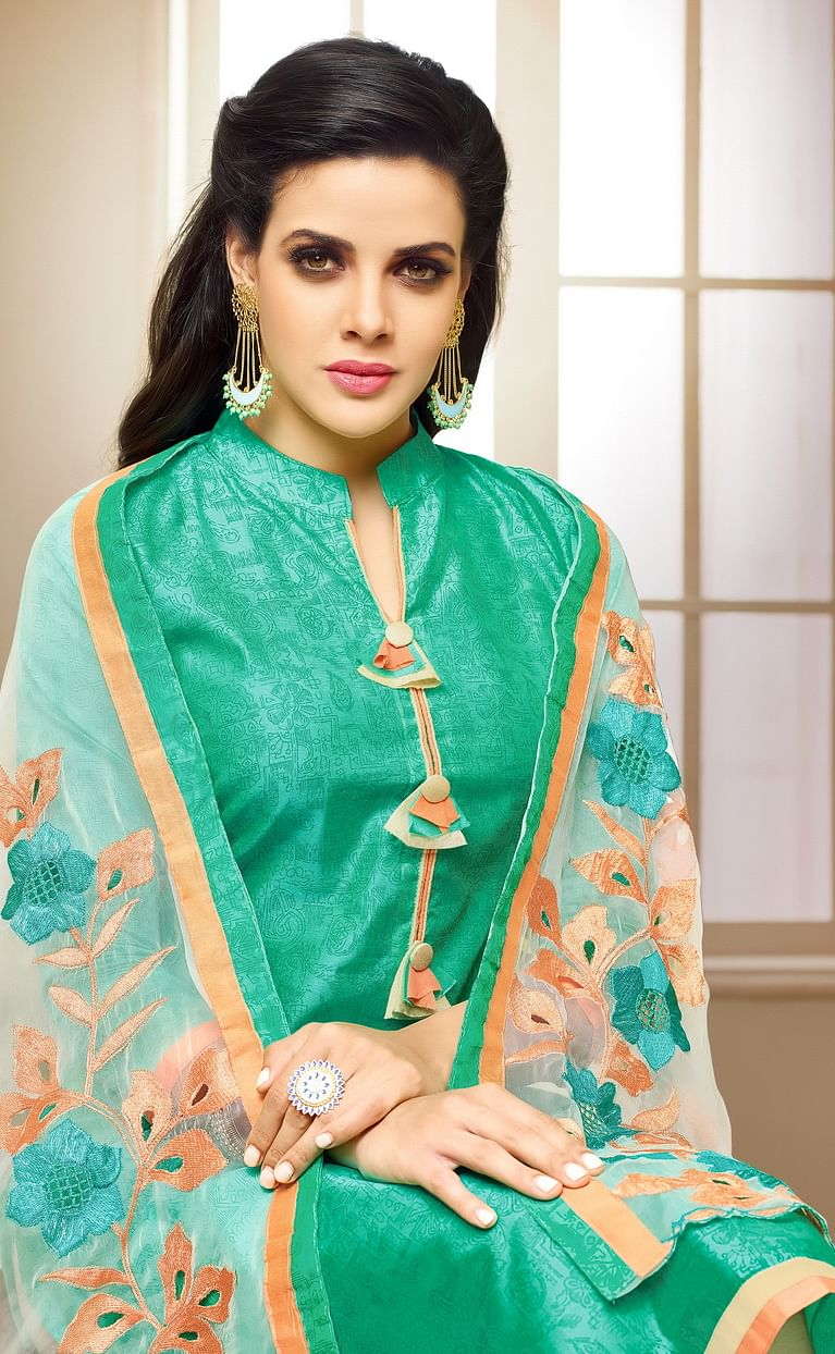 Beautiful Turquoise Embroidered Chanderi Salwar Suit