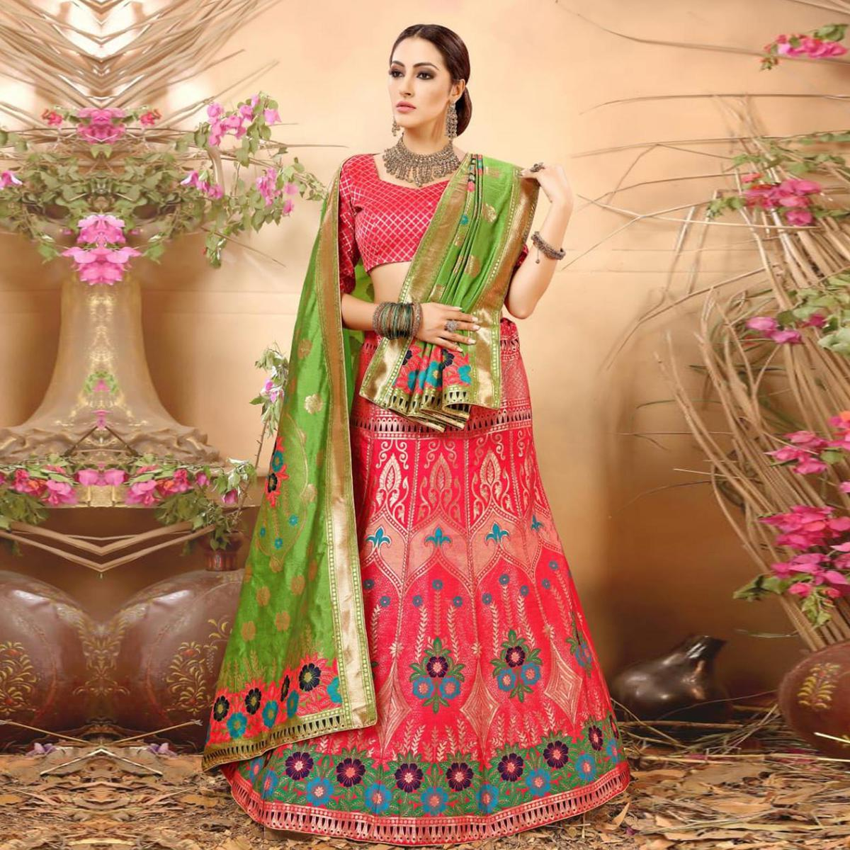 Demanding Pink Colored Festive Wear Woven Banarasi Silk Jacquard Lehenga Choli