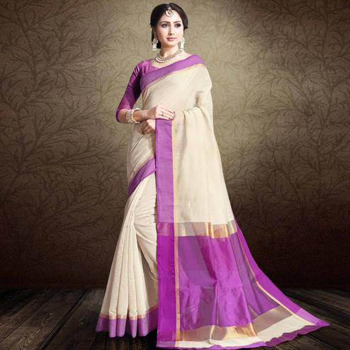 Elegant Off White-Purple Colored Festive Wear Cotton Silk Saree