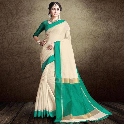 Classy Off White-Turquoise Green Colored Festive Wear Cotton Silk Saree
