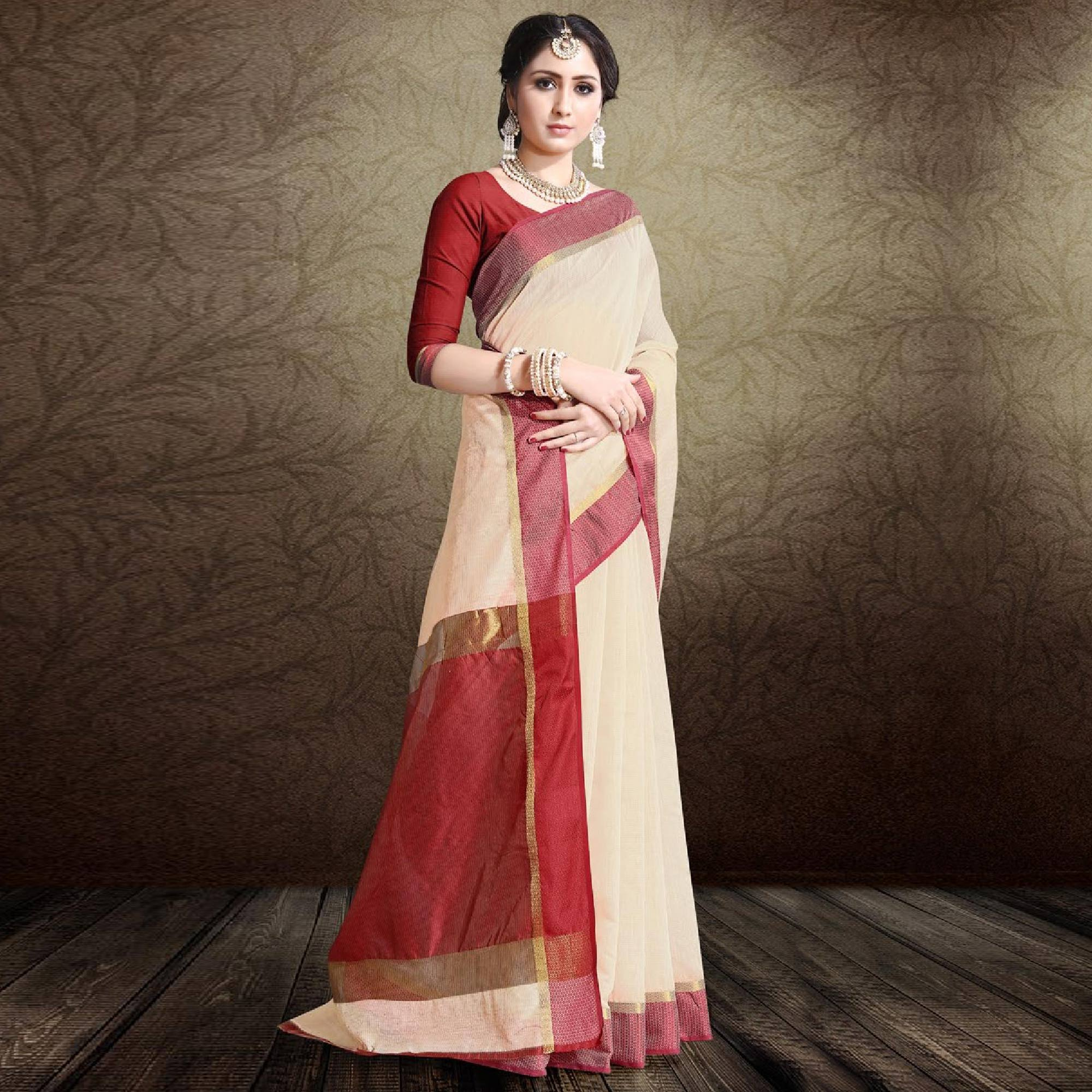 Lovely Off White-Red Colored Festive Wear Cotton Silk Saree