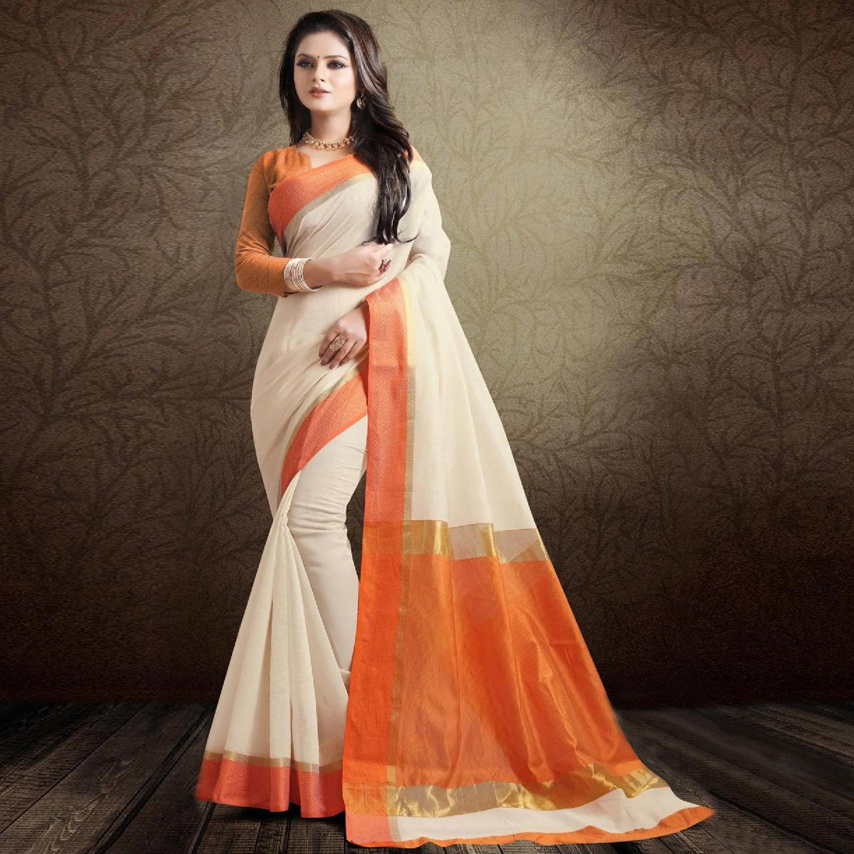 Attractive Off White-Orange Colored Festive Wear Cotton Silk Saree