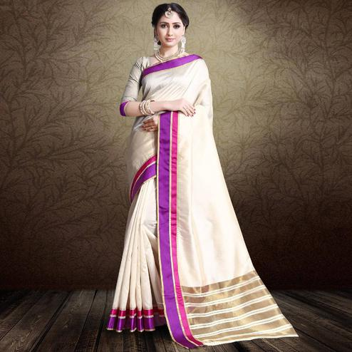 Appealing Off White-Purple Colored Festive Wear Cotton Silk Saree