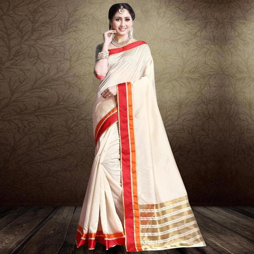 Beautiful Off White-Red Colored Festive Wear Cotton Silk Saree
