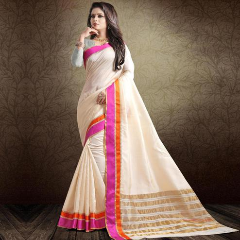 Mesmeric Off White-Pink Colored Festive Wear Cotton Silk Saree