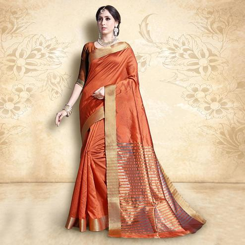 Beautiful Orange Colored Festive Wear Cotton Silk Saree