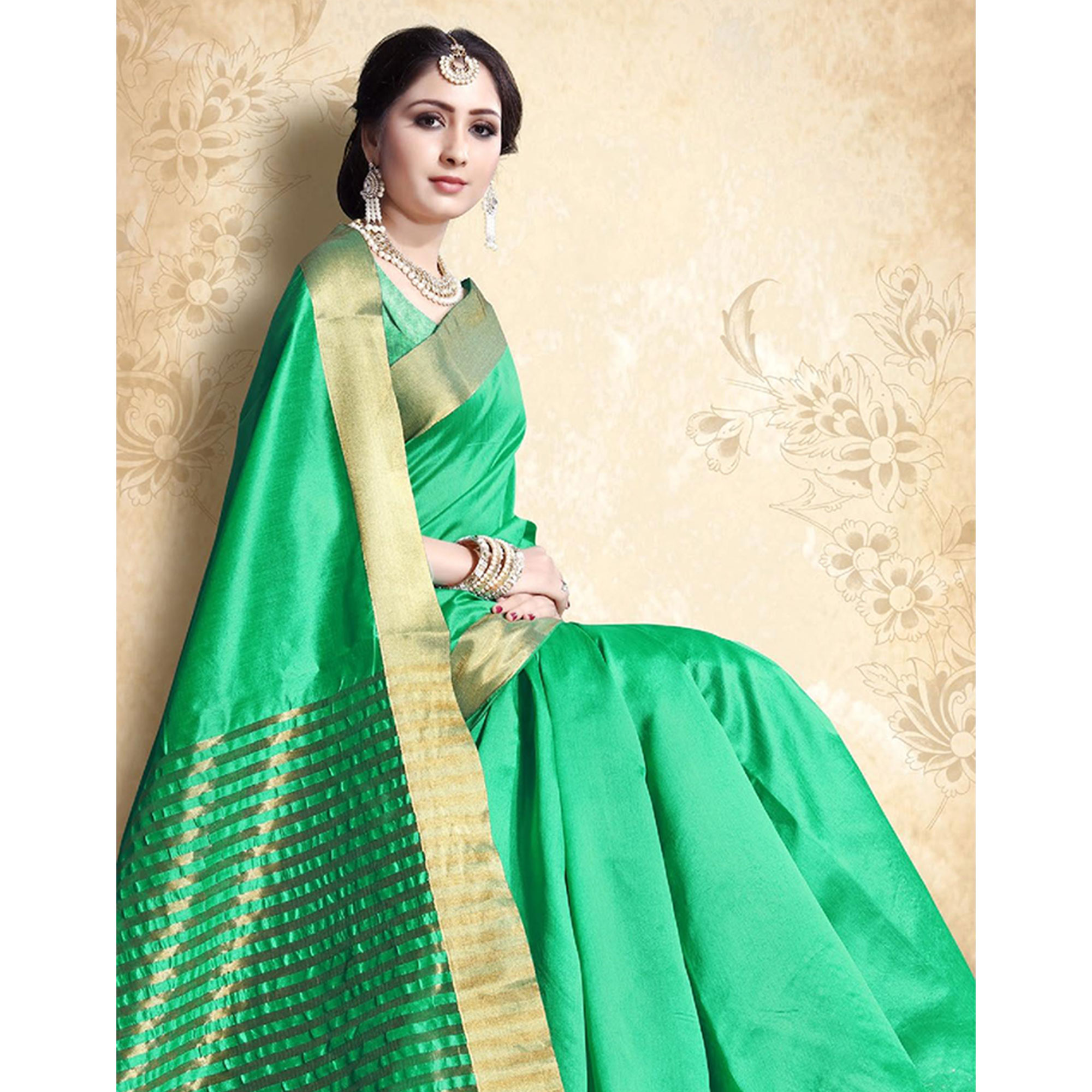Mesmerising Turquoise Green Colored Festive Wear Cotton Silk Saree