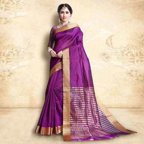 Magnetic Violet Colored Festive Wear Cotton Silk Saree