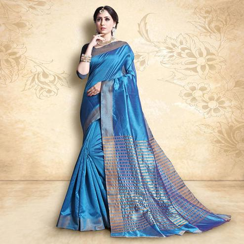 Impressive Sky Blue Colored Festive Wear Cotton Silk Saree