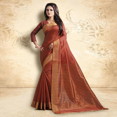 Appealing Dark Rust Orange Colored Festive Wear Cotton Silk Saree