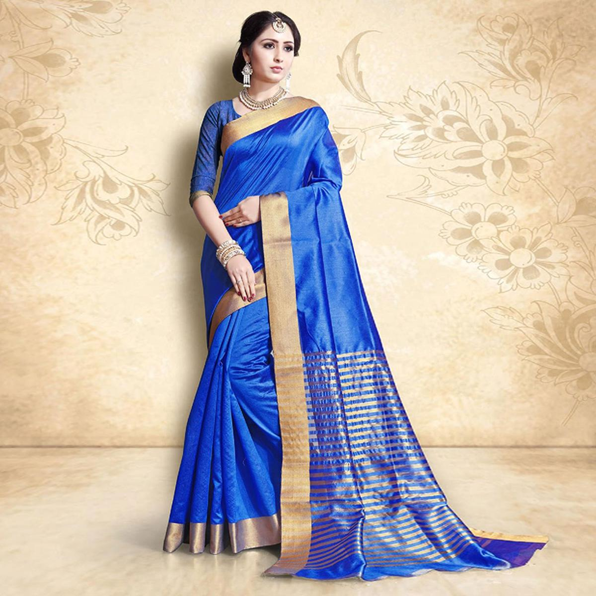 Blooming Blue Colored Festive Wear Cotton Silk Saree