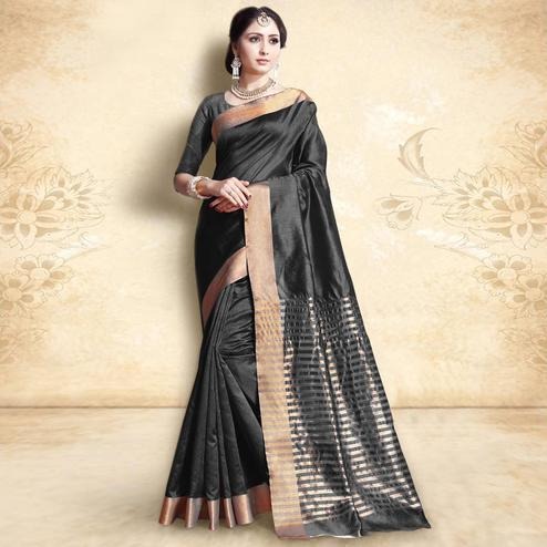 Glowing Black Colored Festive Wear Cotton Silk Saree