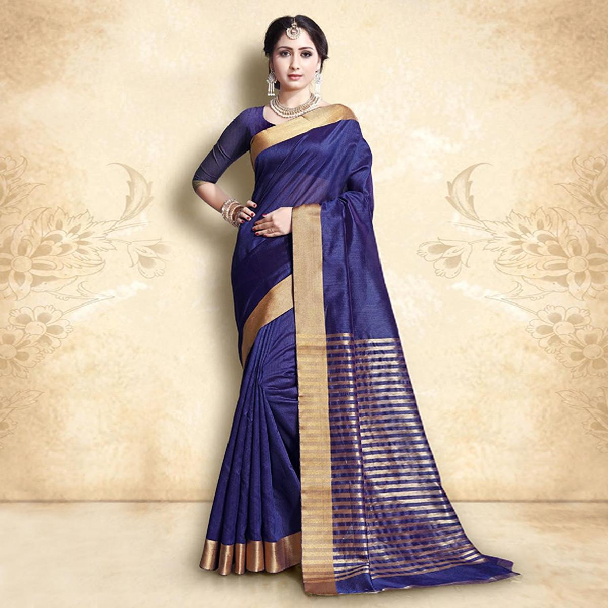 Desiring Navy Blue Colored Festive Wear Cotton Silk Saree